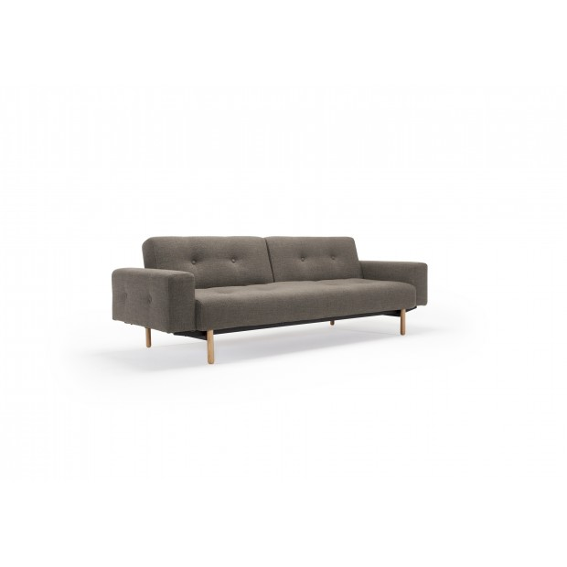 Ample sofa med stofarmlæn. 115 x 210 cm.-32
