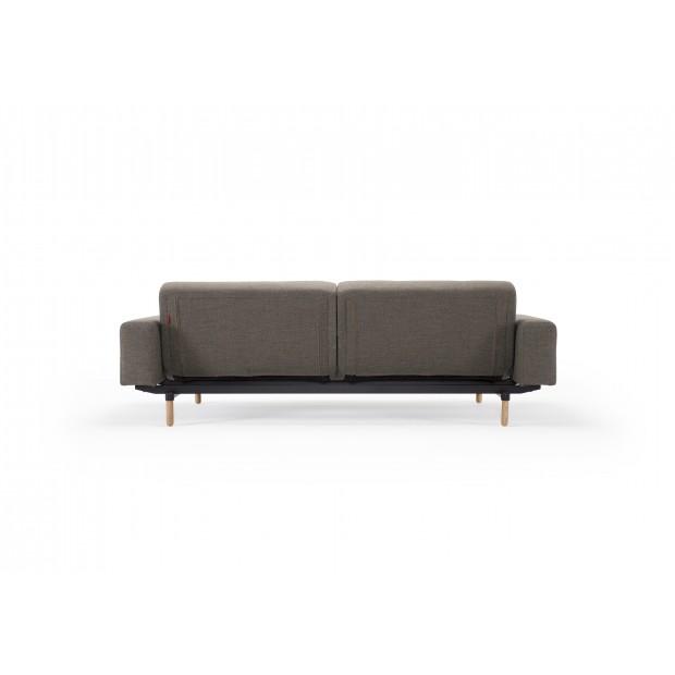 Ample sofa med stofarmlæn. 115 x 210 cm.-02