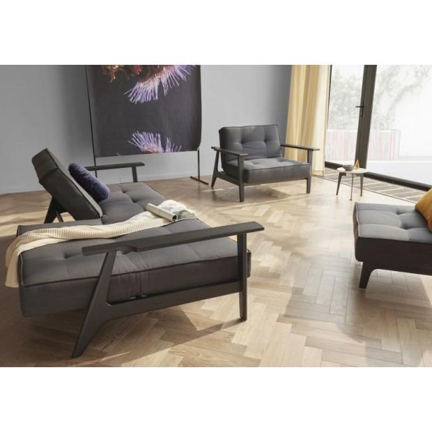Splitback Frej sofa. Sorte armlæn. 115 x 200 cm. 7 farver.-01