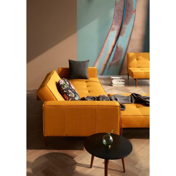 Splitback sovesofa, med stofarmlæn. 115 x 210 cm. 6 farver.-01