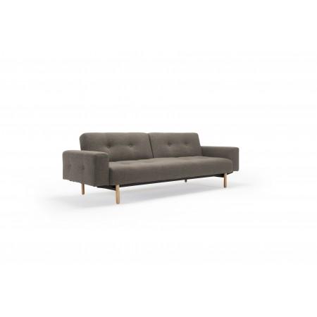 Ample sofa med stofarmlæn. 115 x 210 cm.-20