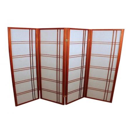 Foldeskærm mahogni 4 fag, assym.-20