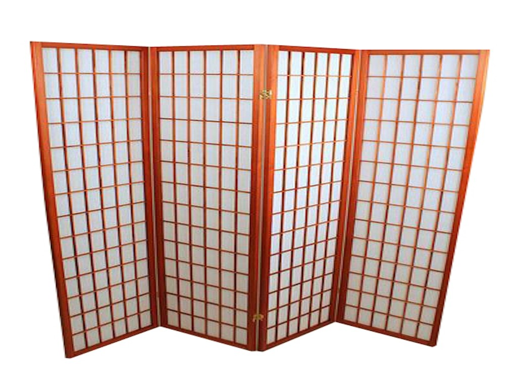 Foldeskærm mahogni 4 fag-20