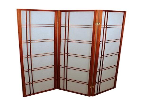 Foldeskærm mahogni 3 fag, assym.-20