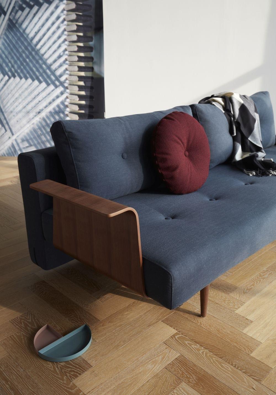 Recast Plus sovesofa, med armlæn, valnød finér. 140 x 200 cm. 3 farver.-20