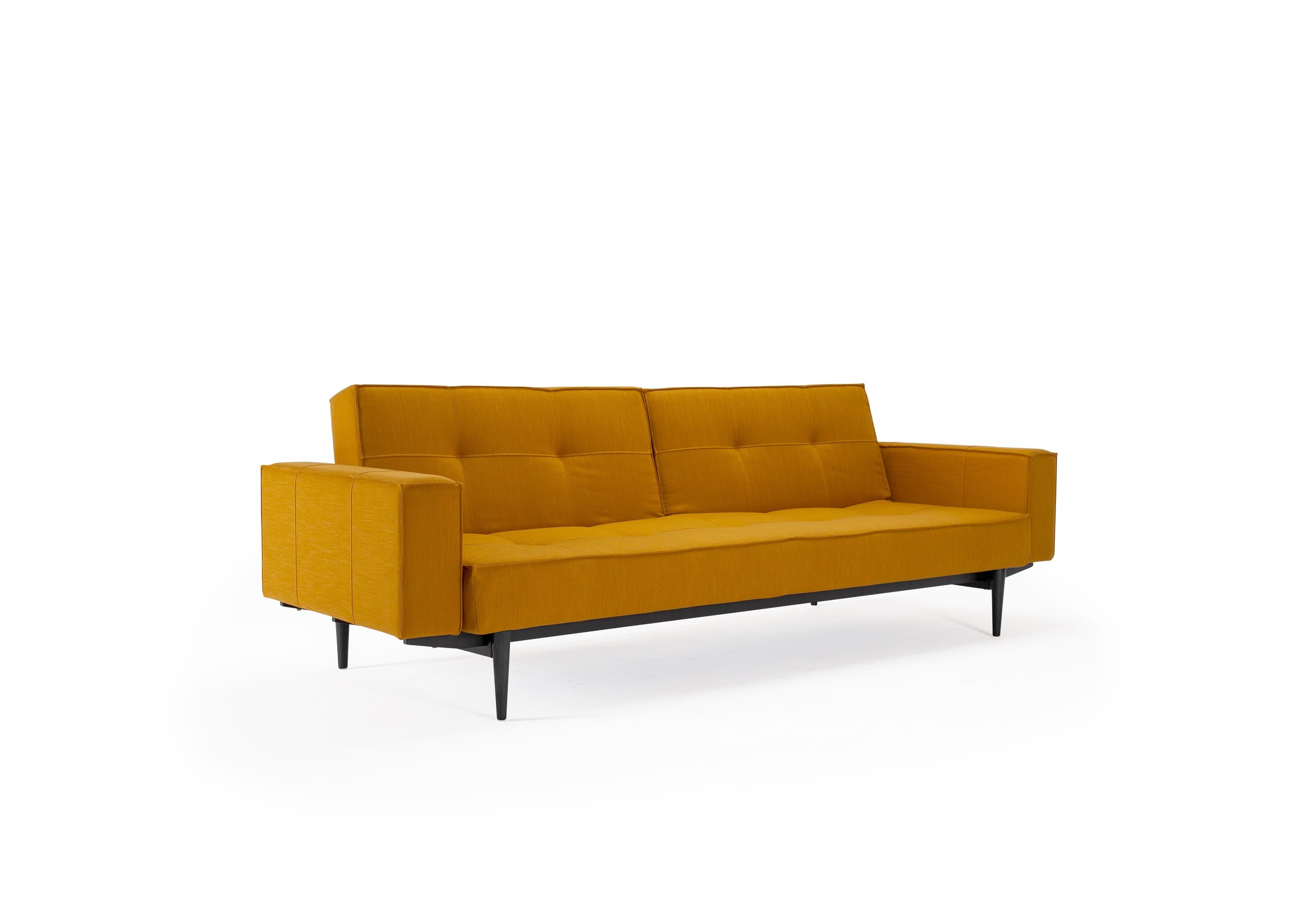 Splitback sovesofa, med stofarmlæn. 115 x 210 cm. 7 farver.-20